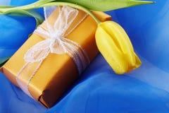 Cadre jaune de tulipe et de cadeau Images libres de droits