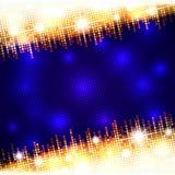 Cadre lumineux d'or d'éclat de mosaïque avec l'espace bleu-foncé vide pour le texte, fond de vecteur illustration de vecteur