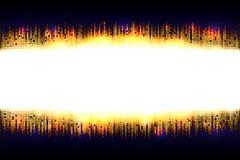 Cadre lumineux d'or d'éclat de mosaïque avec l'espace léger vide pour le texte sur un fond bleu-foncé illustration libre de droits