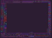 Cadre lumineux, géométrique, abstrait, graphique d'ethno, contour multicolore de gradient, sur le fond pourpre Illustration Stock