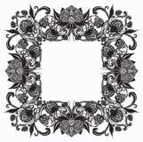 Cadre luxueux de flourish baroque de vintage, houblon en cônes Images stock