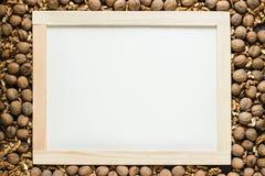 Cadre mûr de noix autour de tableau noir vide Image libre de droits