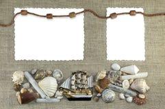 Cadre marin avec la corde Photo stock