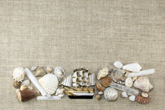 Cadre marin avec le bateau, horizontal Photographie stock