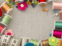 Cadre matériel de couture Photo stock