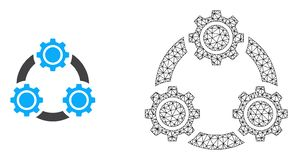 Cadre Mesh Gear Planetary Transmission de fil de vecteur et icône plate illustration stock