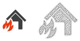 Cadre Mesh House Fire Disaster de fil de vecteur et icône plate illustration de vecteur