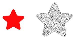 Cadre Mesh Red Star de fil de vecteur et icône plate illustration libre de droits