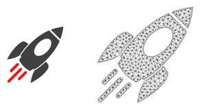 Cadre Mesh Space Rocket de fil de vecteur et icône plate illustration libre de droits