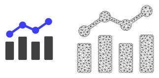 Cadre Mesh Trend Chart de fil de vecteur et icône plate illustration de vecteur