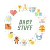 Cadre mignon à plat multicolore de cercle de vecteur de substance de bébé (fille et garçon) Conception de Minimalistic (partie de Images stock