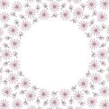 Cadre mignon de frontière de cercle de fond avec des fleurs et des feuilles Image libre de droits