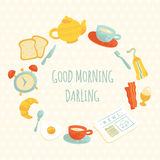 Cadre mignon de petit déjeuner de matin de vecteur photographie stock