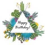 Cadre mignon de vecteur de succulent et de cactus illustration libre de droits