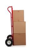 Cadre mobile de carton de Brown avec un collant fragile image libre de droits