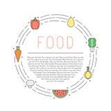 Cadre multicolore de cercle d'ensemble de fruits et légumes avec l'endroit pour votre texte Conception de Minimalistic Partie deu Images libres de droits