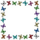 Cadre multicolore de papillons sur le blanc illustration libre de droits