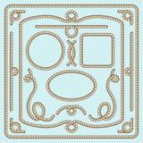 Cadre, noeuds et coins de corde Éléments décoratifs de vecteur Images libres de droits