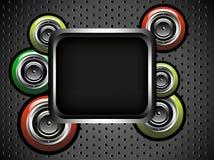 Cadre noir avec des haut-parleurs Photographie stock