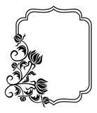 Cadre noir et blanc avec des silhouettes de fleurs o Image stock