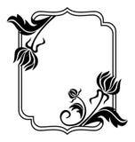 Cadre noir et blanc avec des silhouettes de fleurs o Photos libres de droits