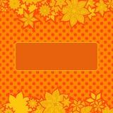 Cadre orange avec des fleurs Photographie stock libre de droits