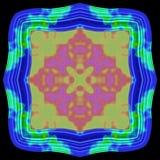 Cadre ornemental coloré en métal bleu abstrait avec l'éclaboussure verte Images libres de droits