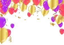 Cadre ou fond de vacances avec le ballon coloré, cadeau, confett illustration de vecteur