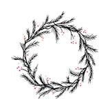 Cadre ou frontière de guirlande de Noël de silhouette de vecteur images libres de droits