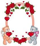 Cadre ovale avec des roses et deux ours de nounours tenant le coeur Photographie stock libre de droits