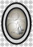 Cadre ovale avec l'arbre de Noël Photographie stock libre de droits