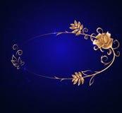 Cadre ovale d'or avec une rose Photo libre de droits