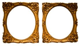 Cadre ovale d'or pour la photographie sur le fond d'isolement image libre de droits