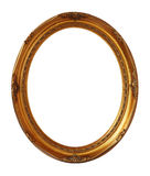 Cadre ovale de photo de vintage d'or d'isolement, chemin de coupure image libre de droits