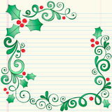 Cadre peu précis tiré par la main de houx de Noël de griffonnage Photos libres de droits