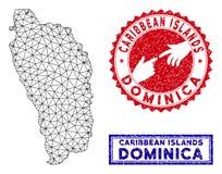 Cadre polygonal Dominica Island Map de fil et timbres grunges illustration de vecteur