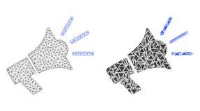 Cadre polygonal Mesh Advertising Megaphone de fil et icône de mosaïque illustration stock