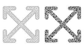 Cadre polygonal Mesh Enlarge Arrows de fil et icône de mosaïque illustration stock