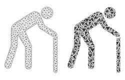 Cadre polygonal Mesh Retired Persona de fil et icône de mosaïque illustration de vecteur