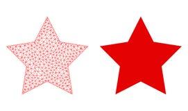 Cadre polygonal rouge Mesh Red Star de fil et icône plate illustration libre de droits