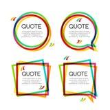 Cadre réglé de citation de vecteur, cadres colorés de citation pour la conception moderne illustration libre de droits