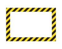 Cadre rayé d'avertissement, avertissant d'être rayures soigneuses et potentielles de danger, jaunes et noires sur la diagonale, s illustration stock