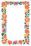 Cadre rectangulaire avec des fleurs et des feuilles des pivoines, iris, tulipes illustration de vecteur