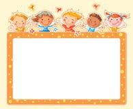 Cadre rectangulaire d'enfants heureux Photo libre de droits