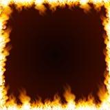 Cadre rectangulaire entouré avec la flamme Photographie stock
