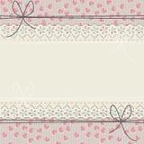 Cadre romantique de dentelle avec les coeurs et les arcs mignons illustration stock