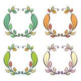 Cadre rond avec des feuilles d'automne et d'été Image libre de droits