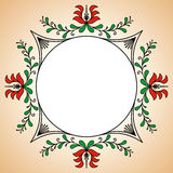 Cadre rond avec des motifs hongrois de potier Image libre de droits