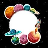 Cadre rond avec des planètes sur le fond noir illustration libre de droits