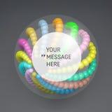 Cadre rond avec l'endroit pour le texte composition en sphères du résumé 3d Images libres de droits